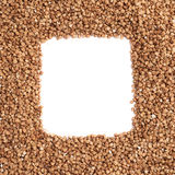 Square frame made of buckwheat Royalty Free Stock Photo