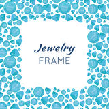 Square Frame Made of Diamonds. Jewelry square frame with space for text. Square frame made of blue shiny diamonds. Blue shiny diamonds on on white background Stock Image