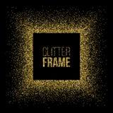 Square frame made of golden glitter isolated on black background. Vector golden frame. Stock Photography