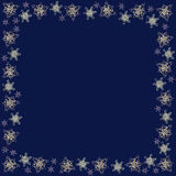 Square frame made of handmade paper snowflakes in quilling technique on dark blue background. vector illustration
