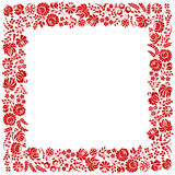 Square frame made from Hungarian embroidery pattern Royalty Free Stock Photo