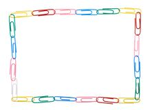 Square frame made of multiple paper clips Royalty Free Stock Photo