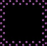 Square frame made of pink animal paw prints on black background. Vector illustration, template, border, framework, photo frame, poster, banner, cats or dogs Stock Photos