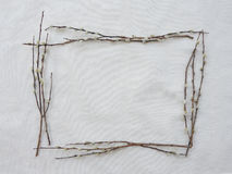 Square frame made from willow branches Stock Photography