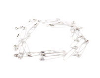 Square frame made of safety pins isolated on white Stock Image