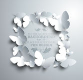 Square frame made of white paper butterflies Royalty Free Stock Photo