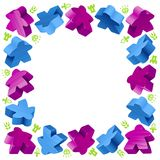Square frame of meeples Royalty Free Stock Photos