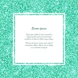 Square frame with mint green glitter. Vector Stock Photo