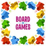 Square frame of multicolored meeples Royalty Free Stock Photo