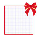 Square frame notebook. Square frame for school in the form of a notebook sheet with red bow on a white background Stock Photos