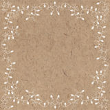 Square Frame Of Garlands. Festive Background. Christmas Greeting Card Or Invitation On Kraft Paper. Royalty Free Stock Photography