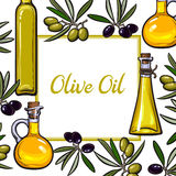 Square frame of olive branches and oil bottles with place for text Stock Photo