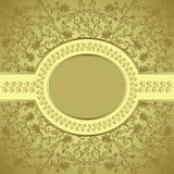 Square frame with an oval bordered. On golden background with leafy pattern Stock Photo