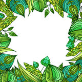 Square frame with patterned doodle green leaves Royalty Free Stock Image