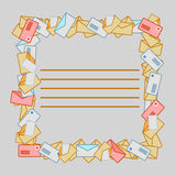 Square frame from post envelopes. Stock Photos