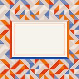 Square frame in red and blue colors, abstract geometric background pattern royalty free stock image