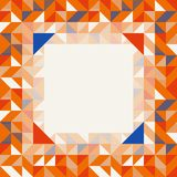 Square frame in orange red and blue colors, abstract geometric background pattern stock image