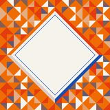 Square frame in orange red and blue colors, abstract geometric background pattern royalty free stock photo