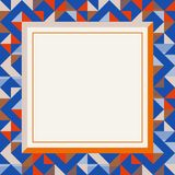 Square frame in red and blue colors, abstract geometric background pattern royalty free stock photo
