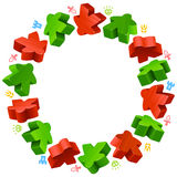 Square frame of red and blue meeples Royalty Free Stock Images