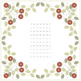 Square frame with red flowers and green leaves  on white Royalty Free Stock Photography