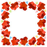 Square frame of red meeples Stock Photography