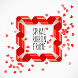 Square frame of red spiral ribbon with hearts confetti Stock Photography