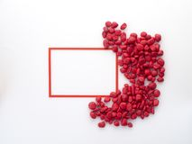 Square frame with red stoneon white royalty free stock photo