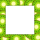 Square frame on ripe kiwi. The Square frame on ripe kiwi fruit background. Vector card illustration Stock Photo