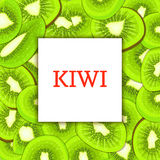The Square frame on ripe kiwi fruit background. Vector card illustration. Delicious fresh and juicy kiwifruit peeled. Piece of half, slice, seed. appetizing Royalty Free Stock Images
