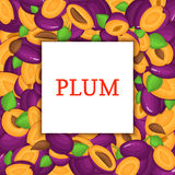 The Square frame on ripe plum background. Vector card illustration. Delicious fresh and juicy  whole, peeled, piece of Stock Image