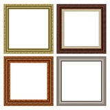 Square frame set. Series of vintage square frames, wood and metal Stock Photos