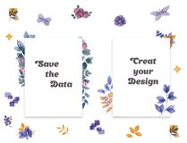 Square Frame set with blue roses, lilacs, flowers, botanical floral illustration watercolor clip art for wedding, birthday, invite stock illustration