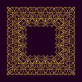 Square frame in trendy mono line style - art deco monogram design element in golden and black color. Stock Photography