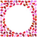 Photo frame of colorful lips with a white circle in the center. Square frame with a white circle in the center for congratulations on the holiday. Abstraction stock illustration