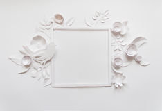Square frame with white paper flowers. Flat lay. Nature concept. Cut from paper. Place for your text Royalty Free Stock Image
