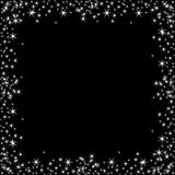 Square frame with white stars on the black background, sparkles golden symbols  - star glitter, stellar flare Royalty Free Stock Photos
