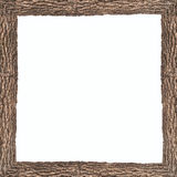 Square frame with wooden bark texture Stock Photos