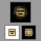 Square frames with golden sparkles. Gold glitter frames set. Gold background for flyer, poster, sign, banner, web, header. Abstract golden background for text Stock Image