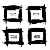 Square frames of thick smears with black paint vector objects Royalty Free Stock Image