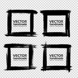 Square frames of thick textured strokes made with a fine brush. Isolated on imitation transparent background Royalty Free Stock Photography