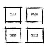 Square frames of thin smears with black paint vector objects Royalty Free Stock Photo