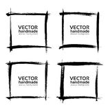 Square frames of thin textured strokes made with a fine brush. Isolated on a white background Royalty Free Stock Photo
