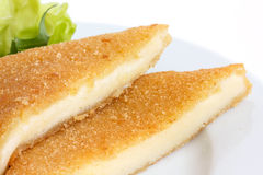 Square fried cheese, cut, melting with salad Royalty Free Stock Photo