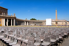 Square in front of the Basilica of St. Peter in Vatican City with the empty chairs, Italy Stock Photography