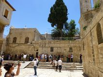 Before entering the Temple of the Holy Sepulcher in Jerusalem. stock images