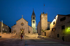 Square in front of church in Supetar Stock Photography