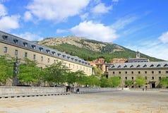 Square in front of El Escorial with historical buildings. SAN LORENZO DE EL ESCORIAL, SPAIN Royalty Free Stock Image