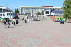 Square in front of the fountain River in Siberia. Krasnoyarsk Royalty Free Stock Images