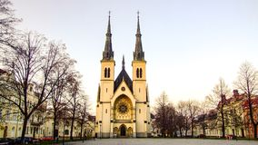 Square of Immaculate Conception of Virgin Mary Church in Ostrava in Czechia. Square in front of Immaculate Conception of Virgin Mary Church in Ostrava, Privoz in Stock Photos